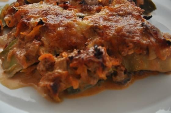 Lasagne med cougetteplader