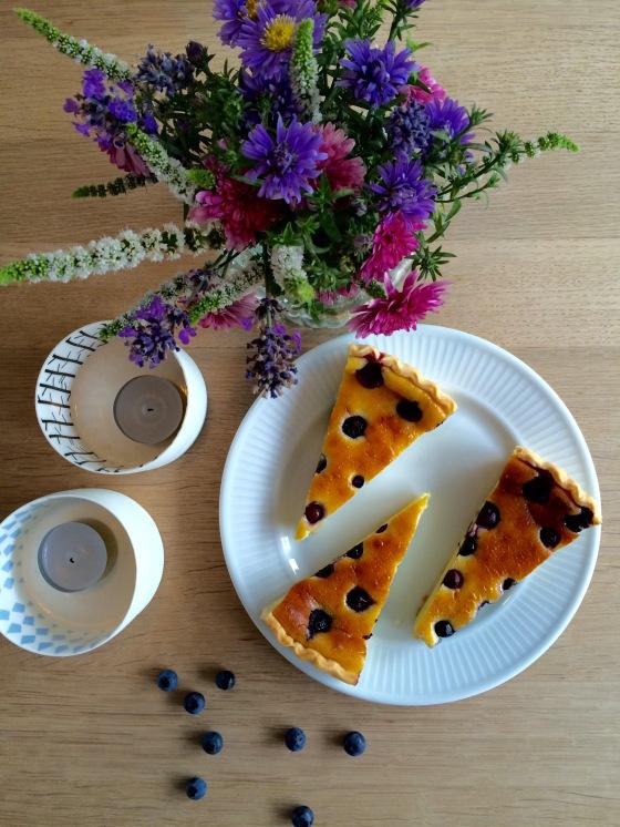 Mascarpone og blåbær tærte